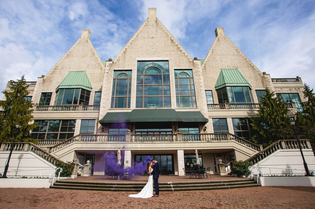 Newlyweds in front of Swaneset Vancouver by Katie Lauren PHotography