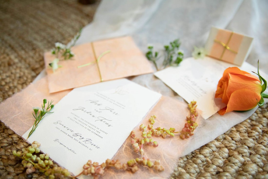 Bohemian Inspired Elopement paper suite of blush and white invitations