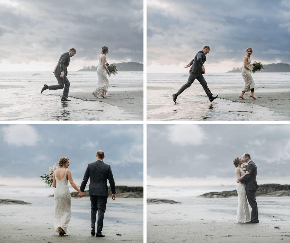 Tofino Beach Wedding newlyweds trip over the waves on Vancouver Island