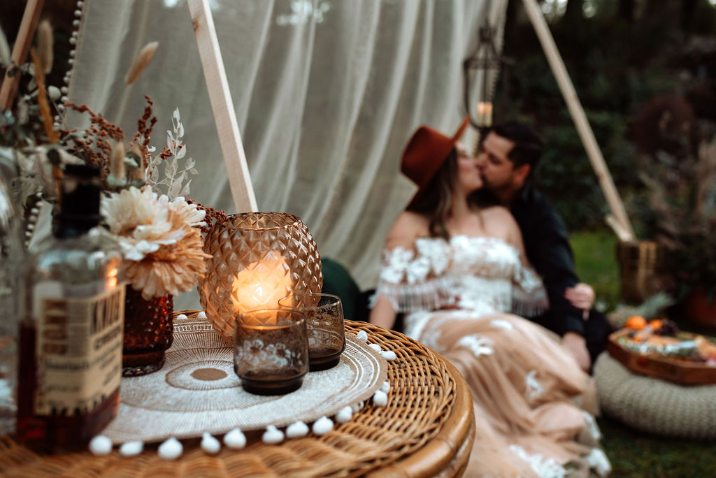 Picnic Wedding Reception with eloping couple by Michigan Lane and Co
