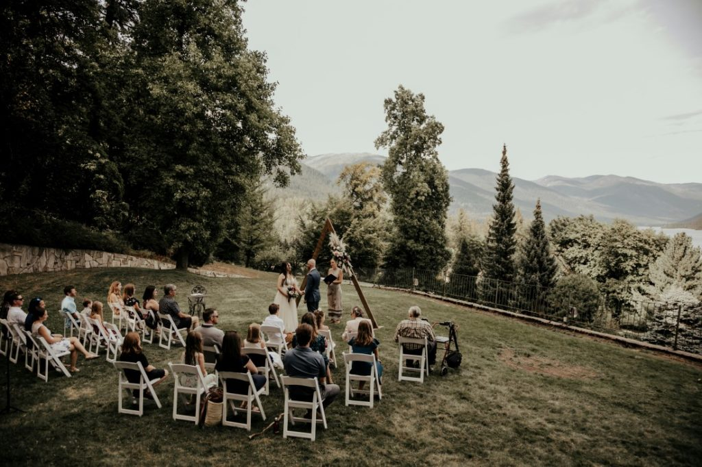 Wedding ceremony outdoors at Blaylock Mansion