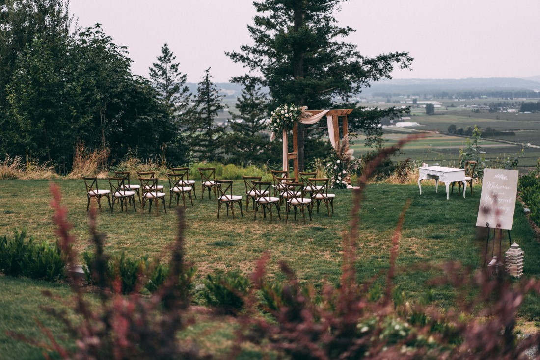Wedding Ceremony set up in field outside Vancouver by  Above and Beyond Events Vancouver
