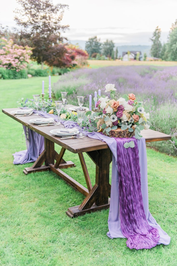 Wedding Lavender in bloom reception table in field by Vancouver