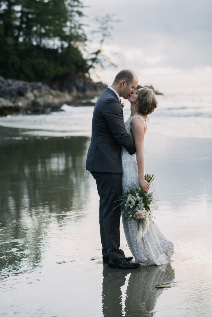 Tofino Beach Wedding kiss by Bracey Photography