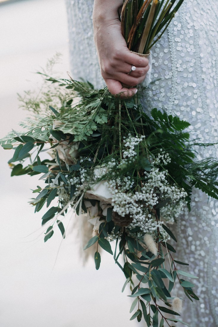 Roses, Anemones, Ferns and dried grass bridal bouquet by Crab Apple floral Tofino