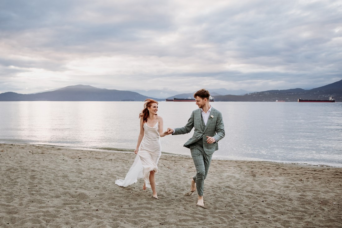 Heartfelt Elopement in Vancouver couple on the beach