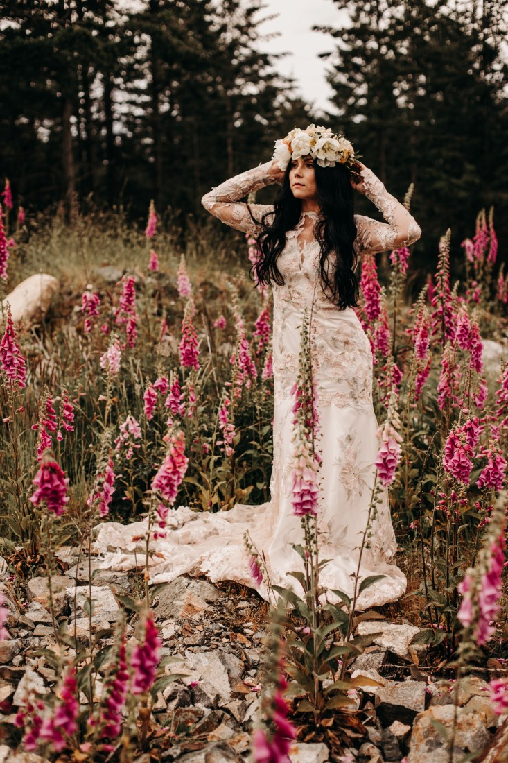 Foxgloves are Forever Island Moments Photography bride with arms at flower crown