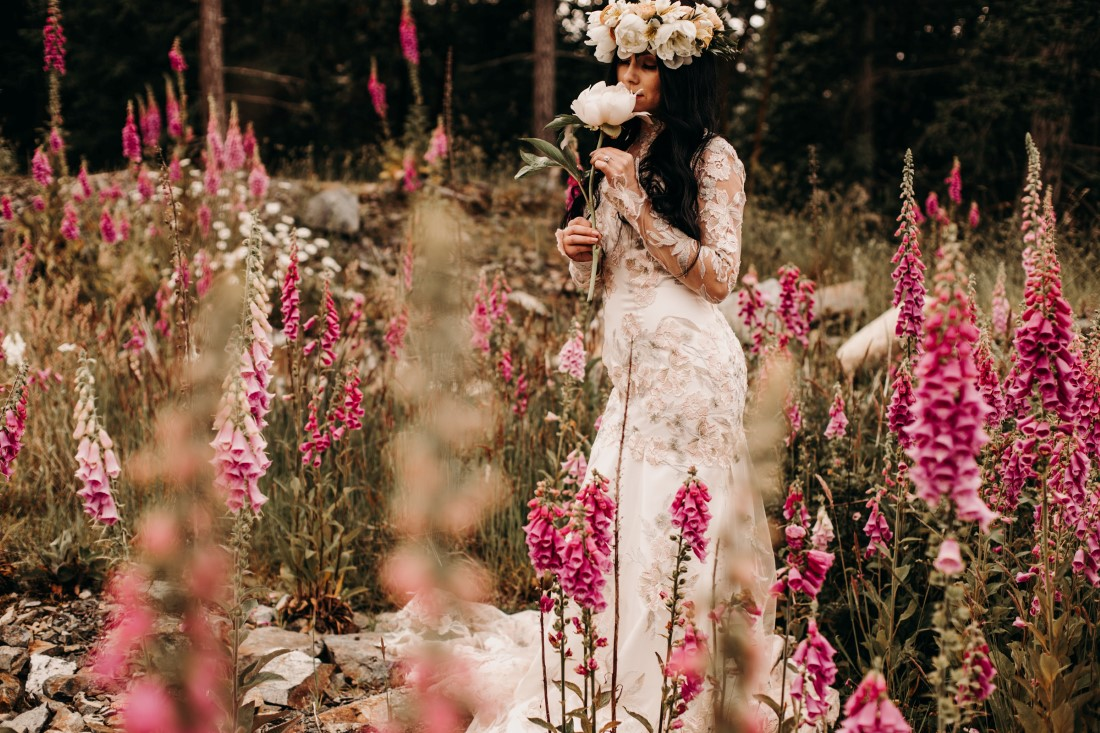 Foxgloves are Forever Island Moments Photography bride smells peony