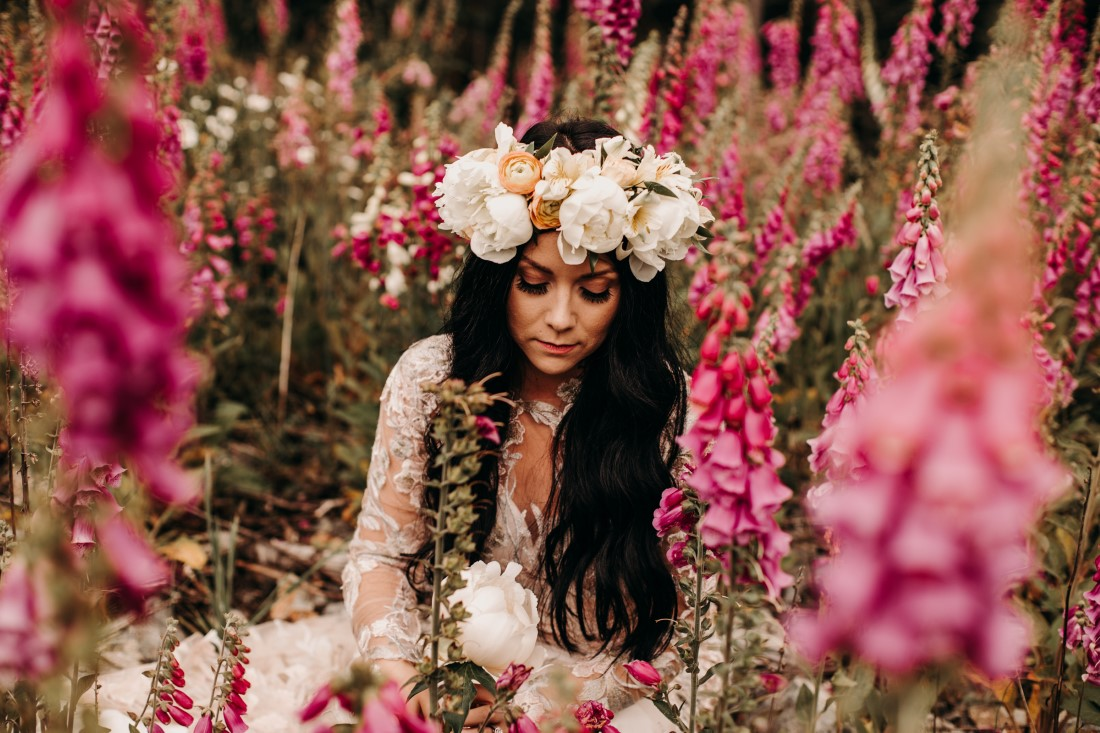 Foxgloves are Forever Island Moments Photography bride in foxgloves