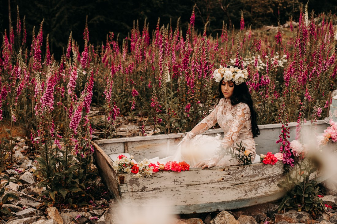 Foxgloves are Forever Island Moments Photography bride in boat