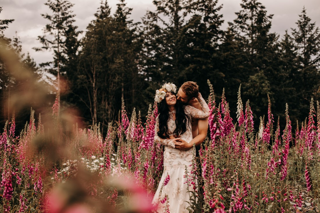 Foxgloves are Forever Island Moments Photography newlywed embrace