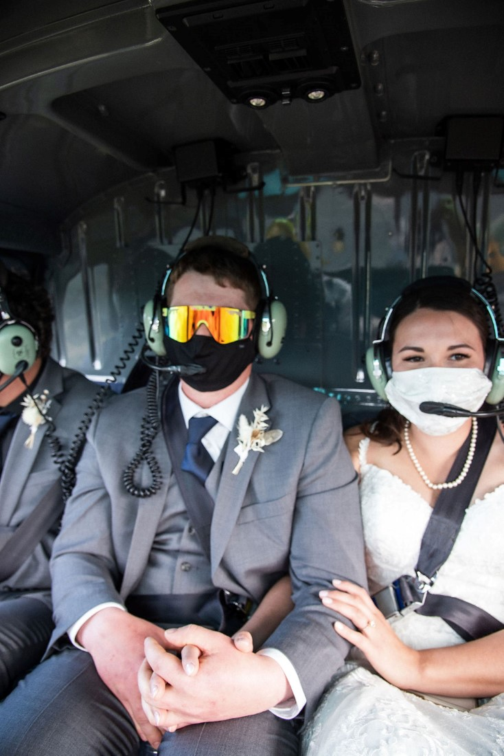 Wedding From Above Janayh Wright Photography couple in helicopter
