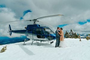 Wedding From Above Janayh Wright Photography couple arrives on mountaintop