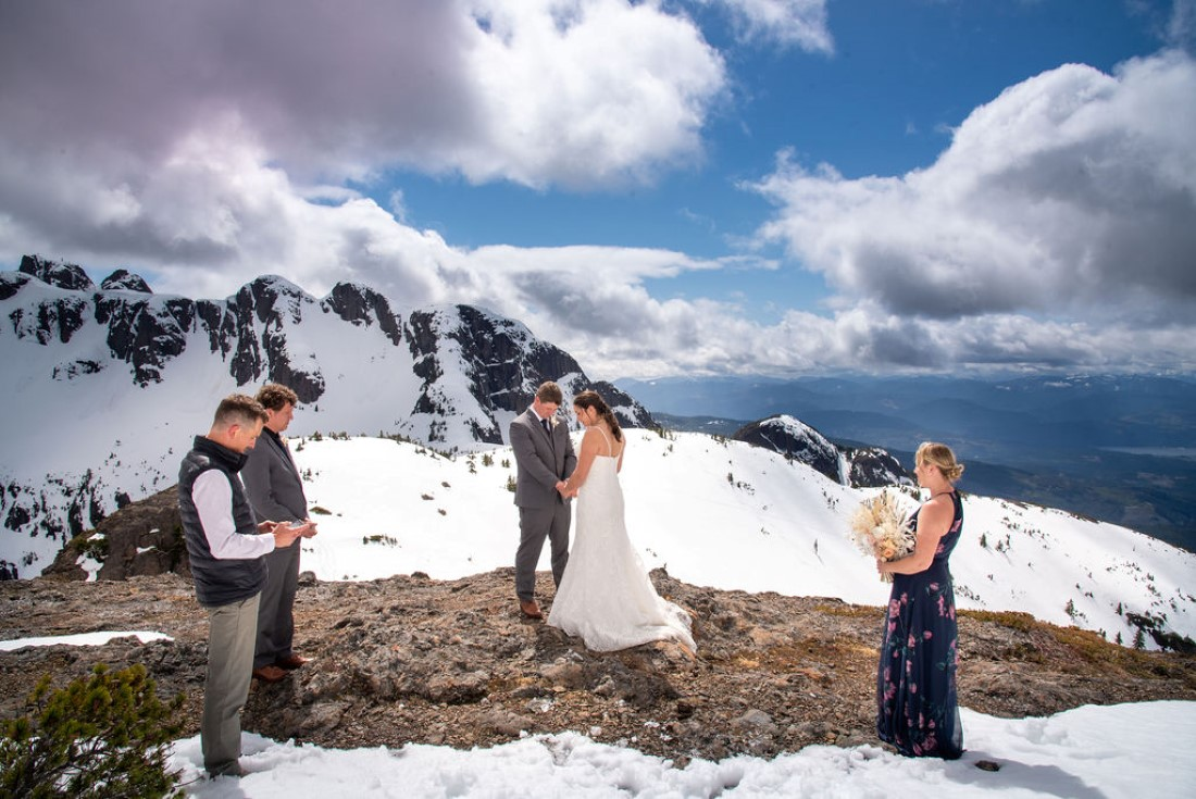 Wedding From Above Janayh Wright Photography mountaintop ceremony