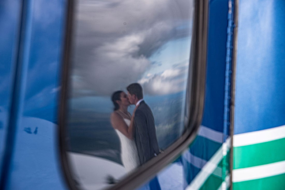 Wedding From Above Janayh Wright Photography reflection of bride and groom in mirror
