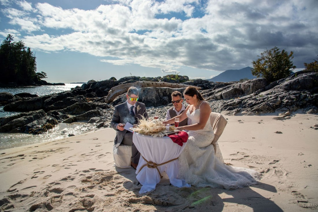 Wedding From Above Janayh Wright Photography beach signing table