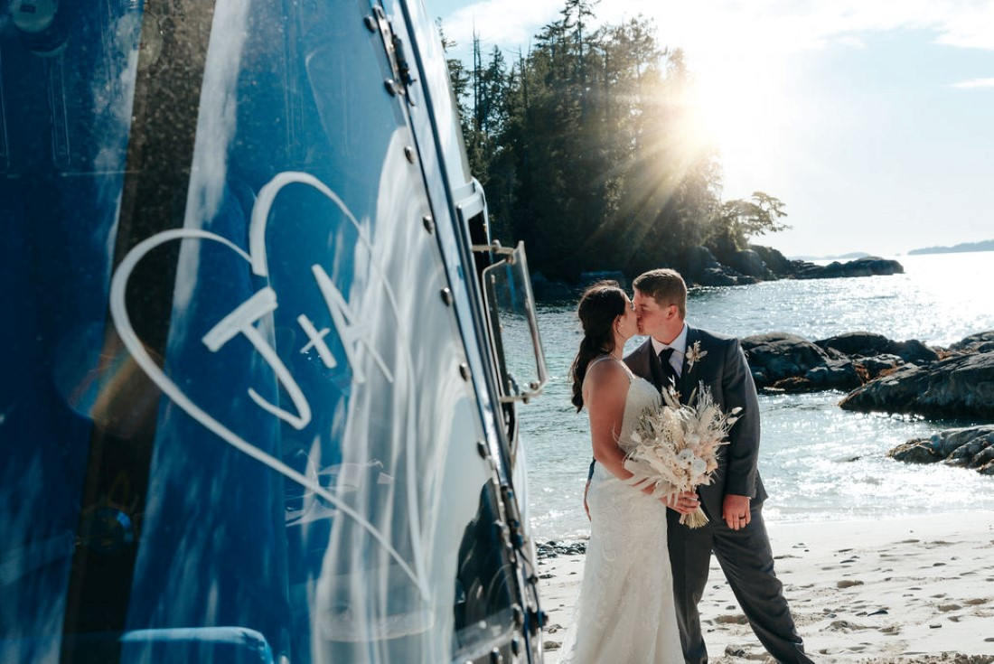Wedding From Above Janayh Wright Photography beach kisses