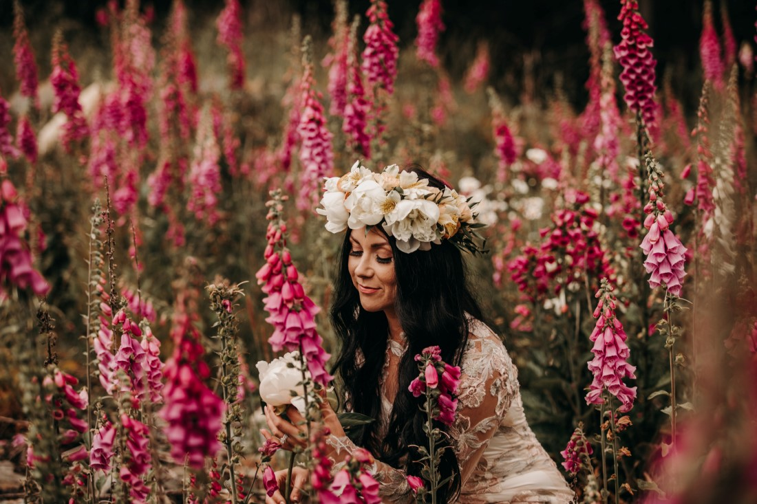 Foxgloves are Forever Island Moments Photography bride looking at peony