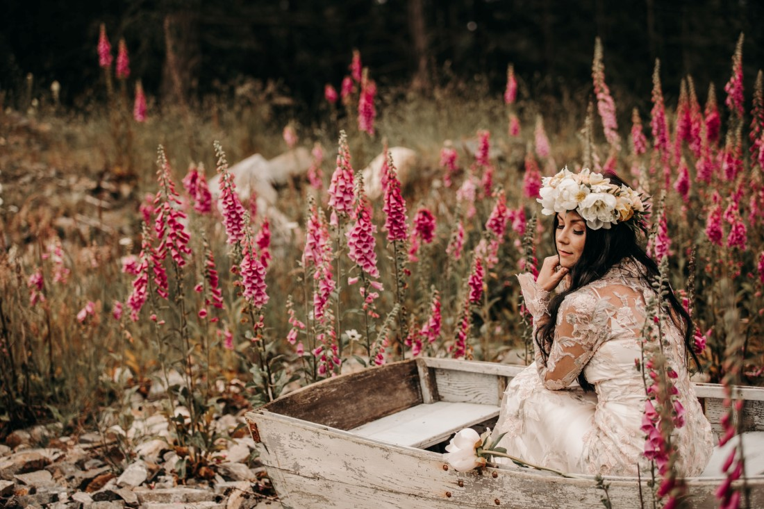 Foxgloves are Forever Island Moments Photography bride leaning on chin