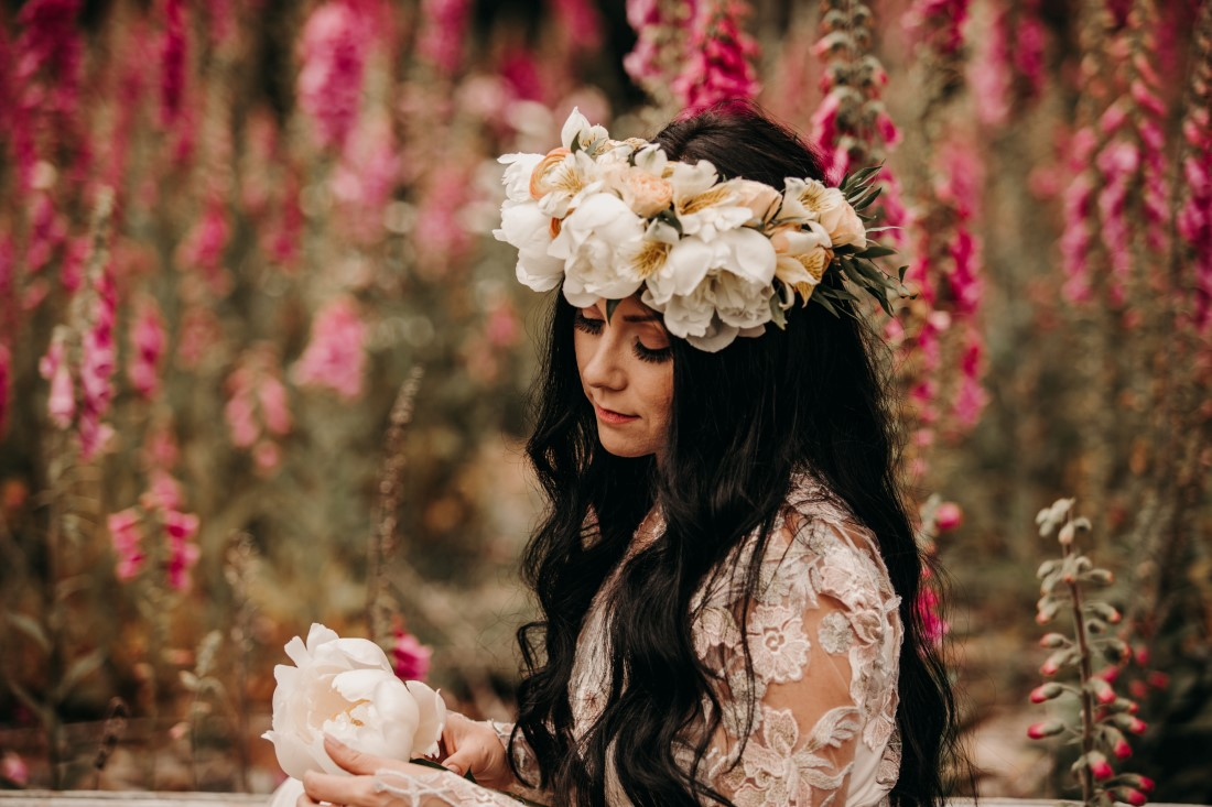 Foxgloves are Forever Island Moments Photography bride in flower crown