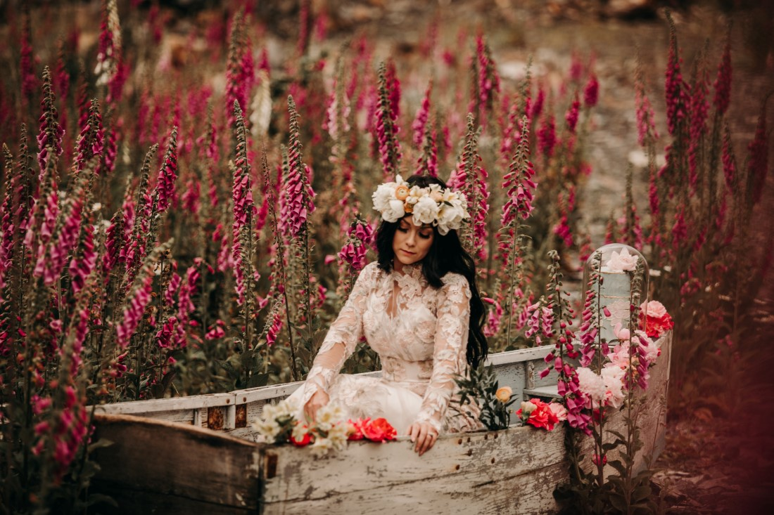 Foxgloves are Forever Island Moments Photography bride sitting reflecting