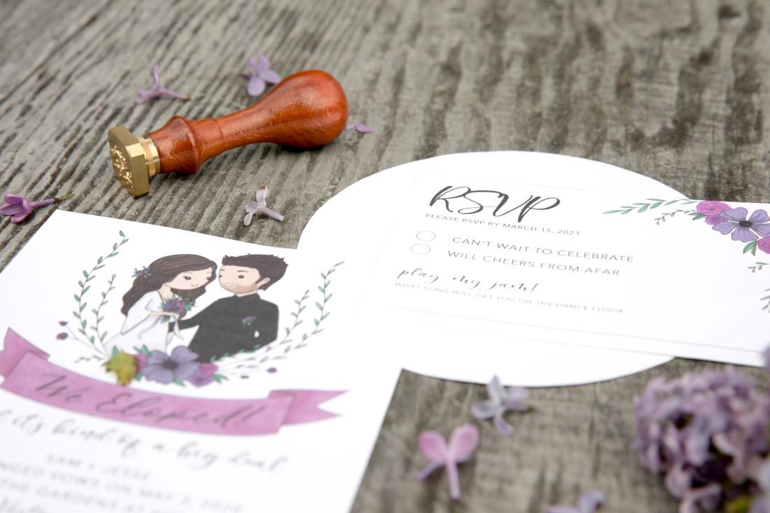 Purple Lilac Spring Wedding Hattie Root Photo We eloped announcement