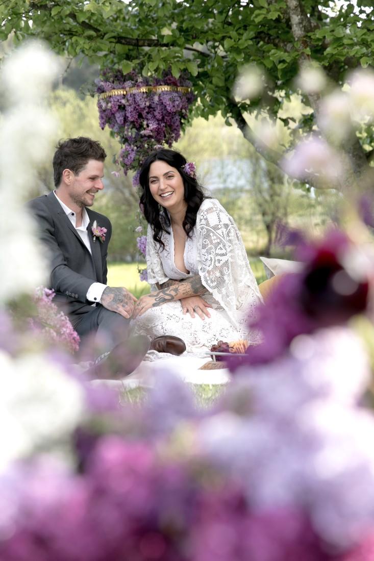 Purple Lilac Spring Wedding Hattie Root Photo couple sharing laugh