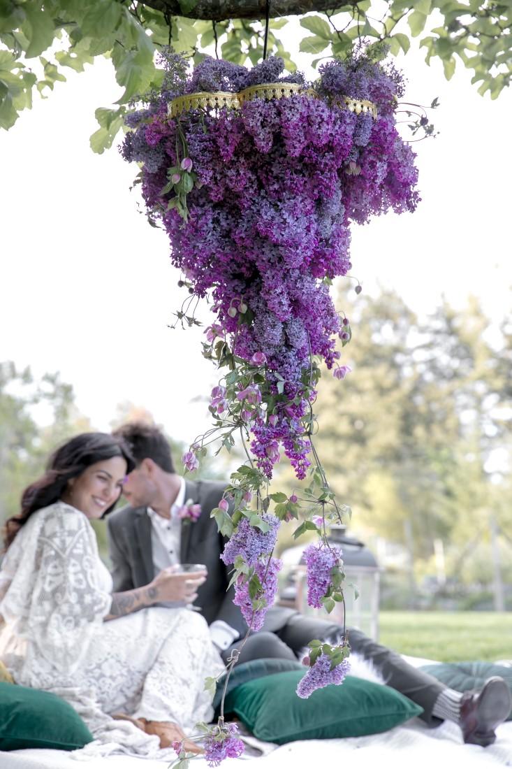 Purple Lilac Spring Wedding Hattie Root Photo lilac chandelier