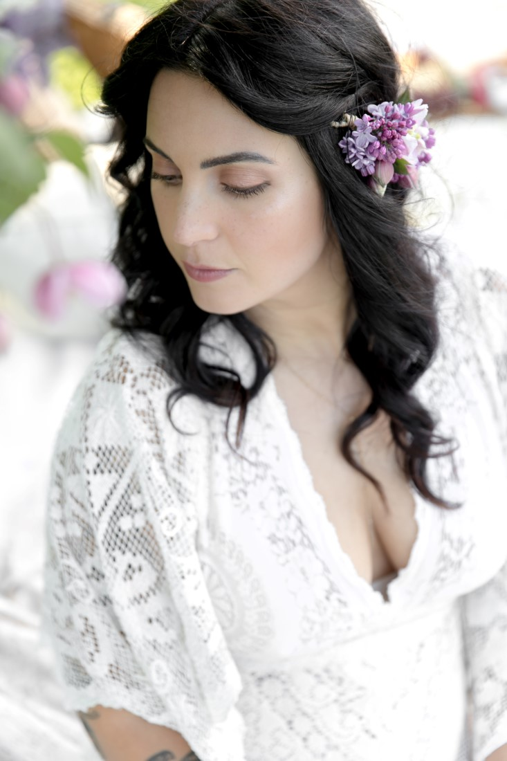 Purple Lilac Spring Wedding Hattie Root Photo bridal makeup and hair