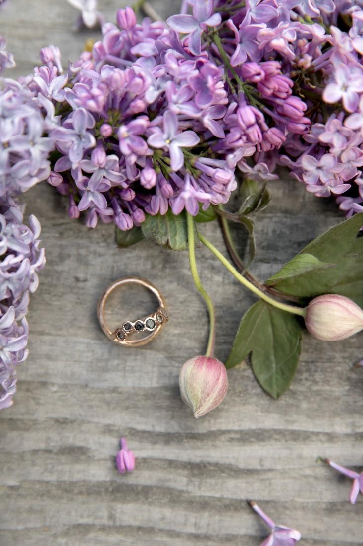 Purple Lilac Spring Wedding Hattie Root Photo ring detail shot