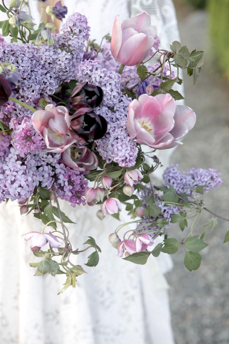 Purple Lilac Spring Wedding Hattie Root Photo closeup of lilac bridal bouquet