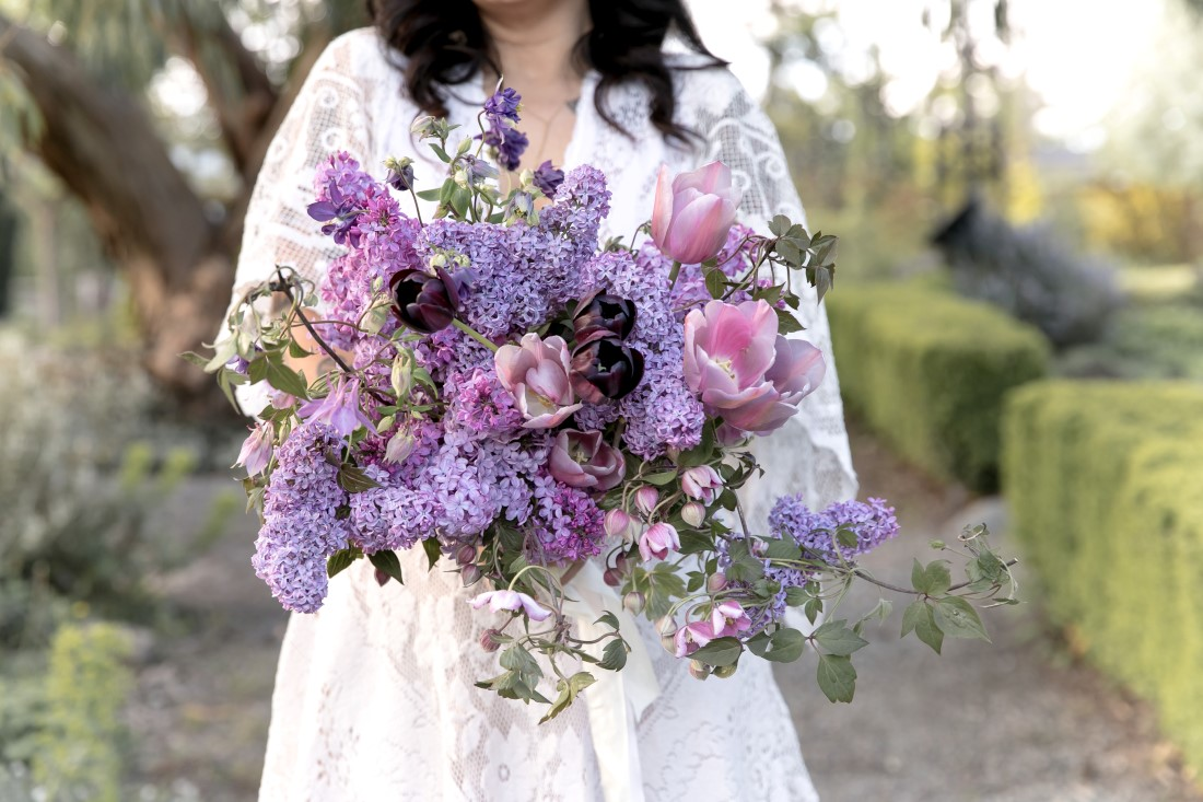 Purple Lilac Spring Wedding Hattie Root Photography Lilac bridal bouquet