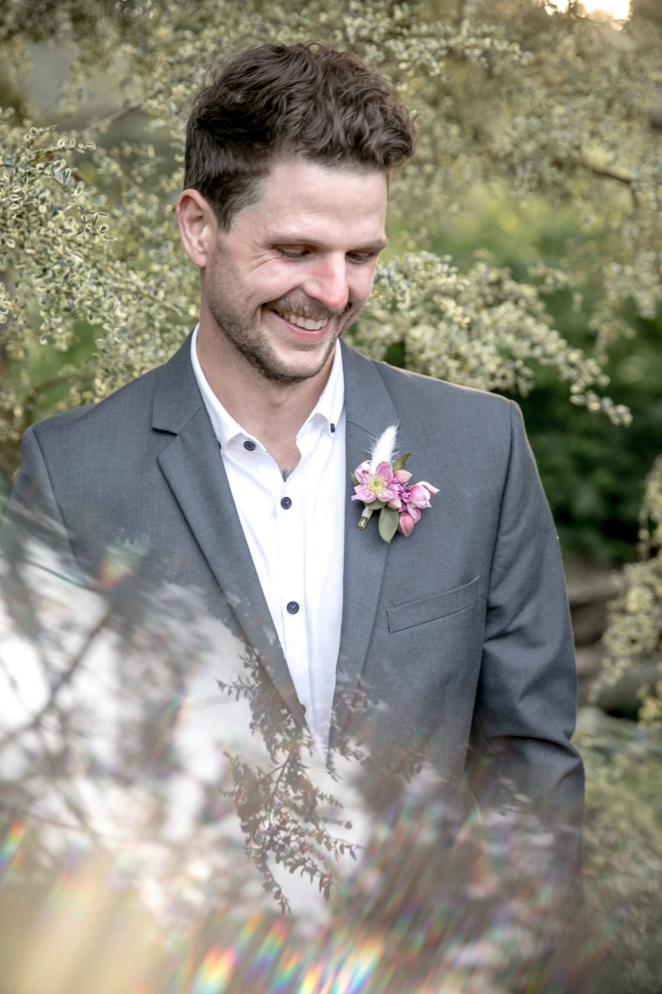 Purple Lilac Spring Wedding Hattie Root Photo groom and boutonniere