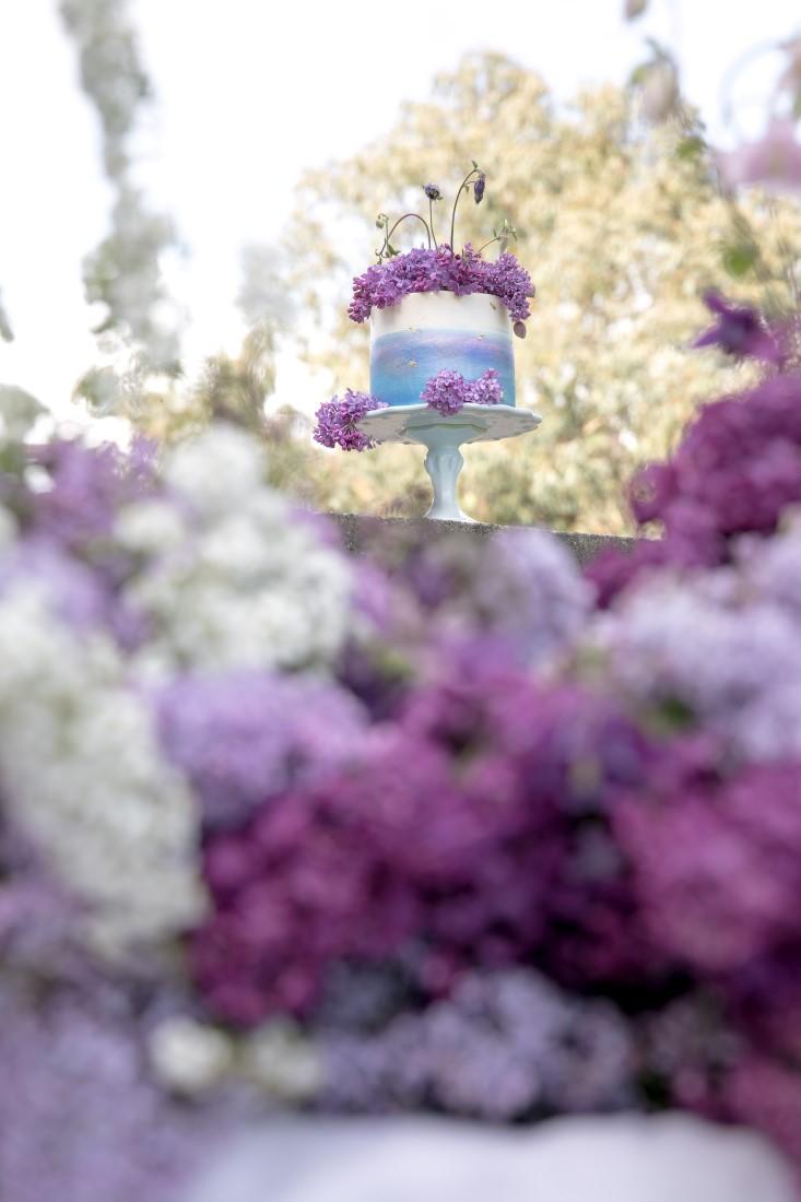 Purple Lilac Spring Wedding Hattie Root Photo detailed shot of cake