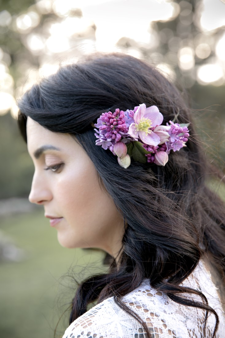Purple Lilac Spring Wedding Hattie Root Photo bridal hair floral