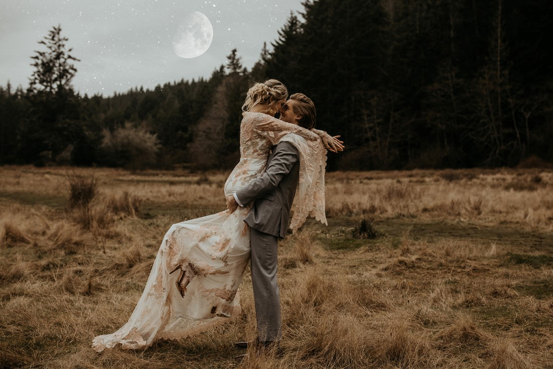 Romantic Cover for Vancouver Island Magazine Secret Waters Photography groom lifts bride who embraces her hands behind his neck
