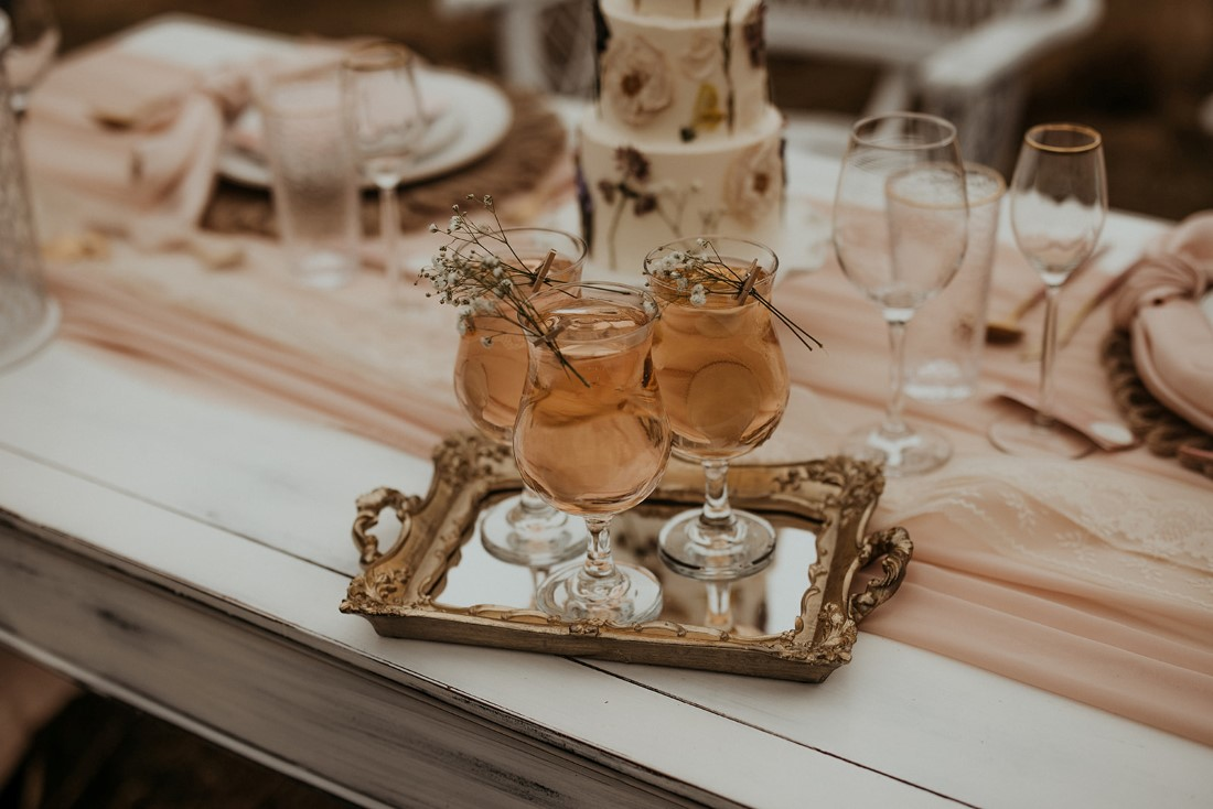 Romantic Cover for Vancouver Island Magazine Secret Waters Photography pretty drinks on mirrored tray