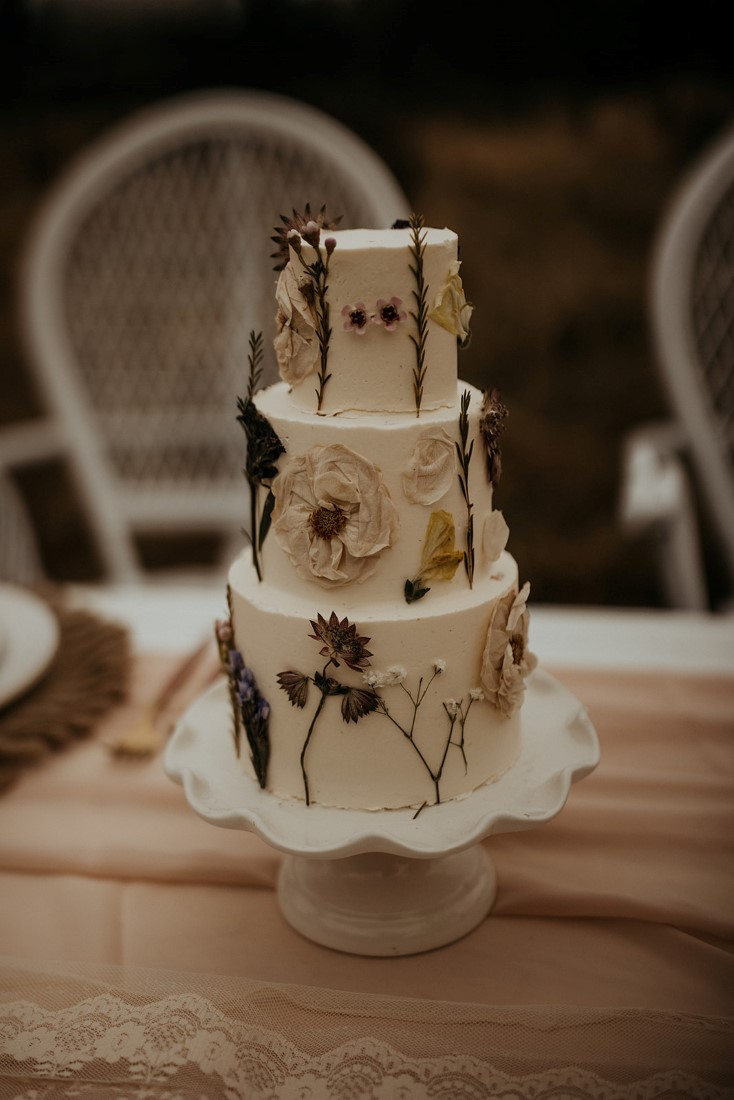 Romantic Cover for Vancouver Island Magazine Secret Waters Photography Wedding cake with dried pressed flowers