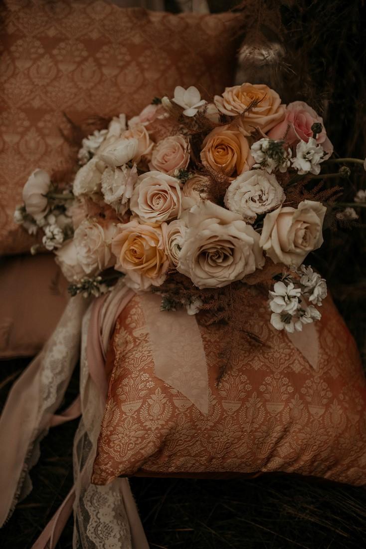 Romantic Cover for Vancouver Island Magazine Secret Waters Photography gorgeous closeup of bridal bouquet