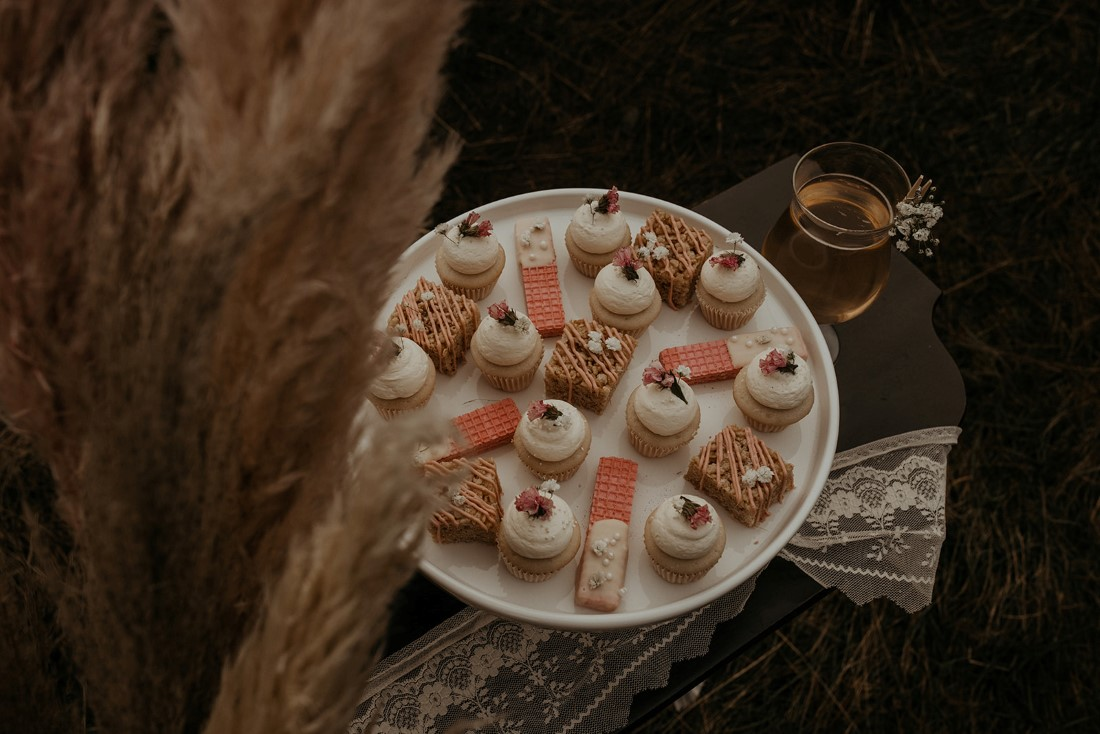 Romantic Cover for Vancouver Island Magazine Secret Waters Photography dessert plate with pretty cupcakes and dipped cookies