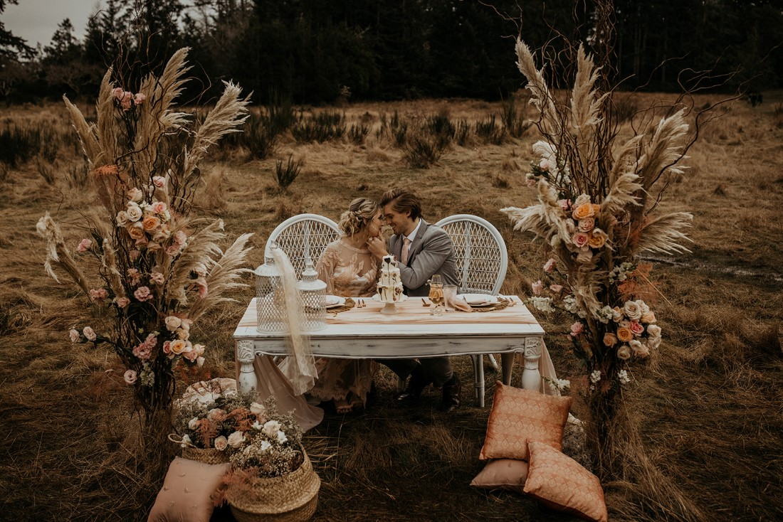 Romantic Cover for Vancouver Island Magazine Secret Waters Photography bohemian sweetheart table with wedding cake
