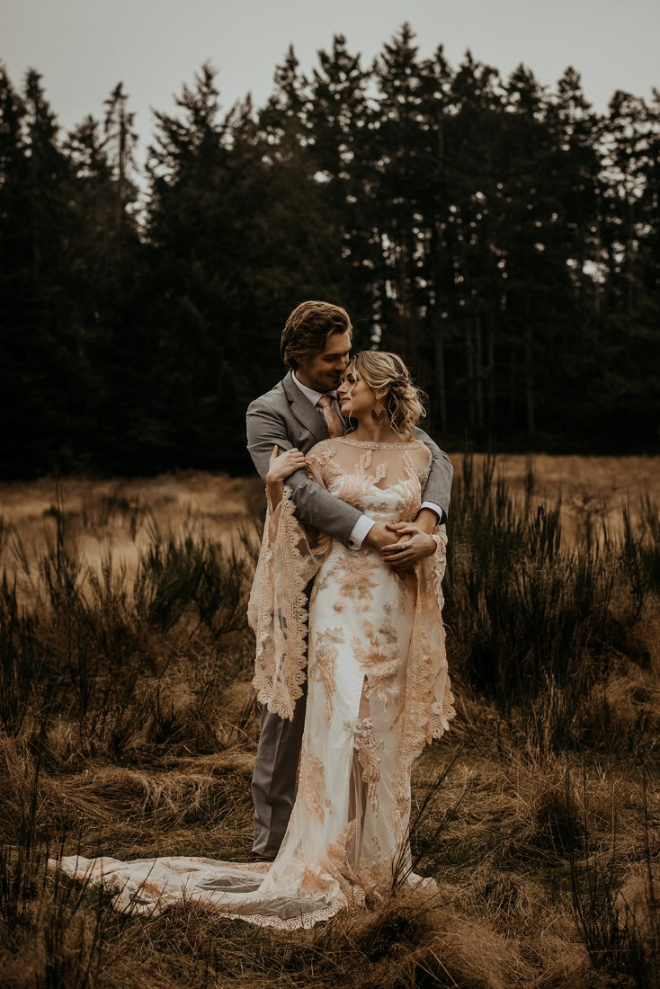 Romantic Cover for Vancouver Island Magazine Secret Waters Photography groom embraces bride from behind