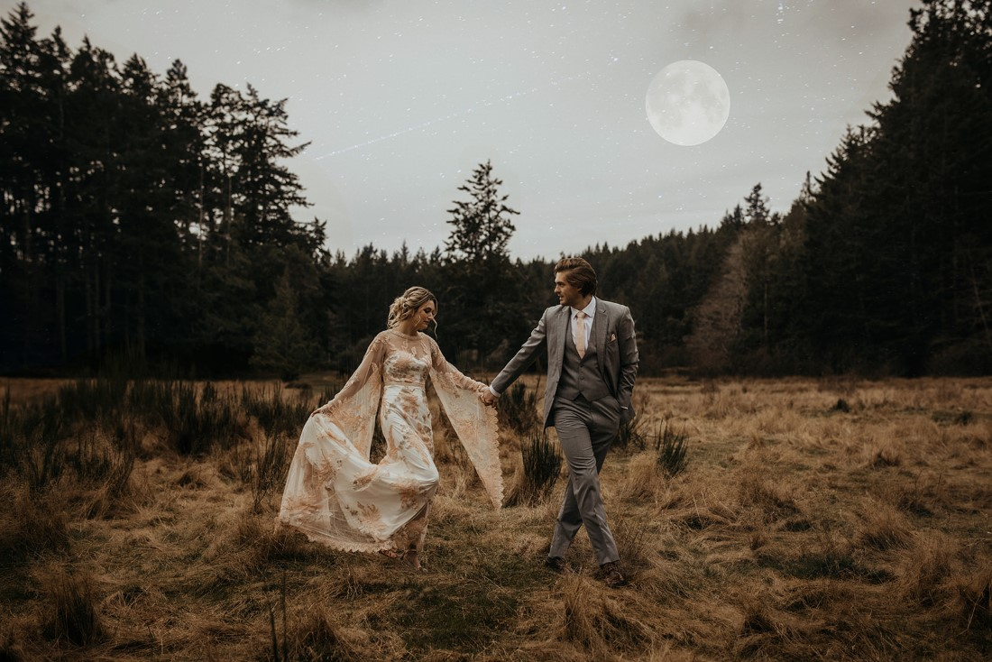 Romantic Cover for Vancouver Island Magazine Secret Waters Photography couple walk through grassy field