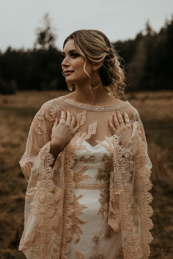 Romantic Cover for Vancouver Island Magazine Secret Waters Photography blush lace detail on gown