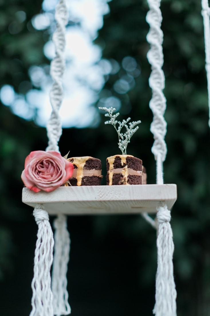 Macramé Boho Simply Sweet Photography cake pieces on swing