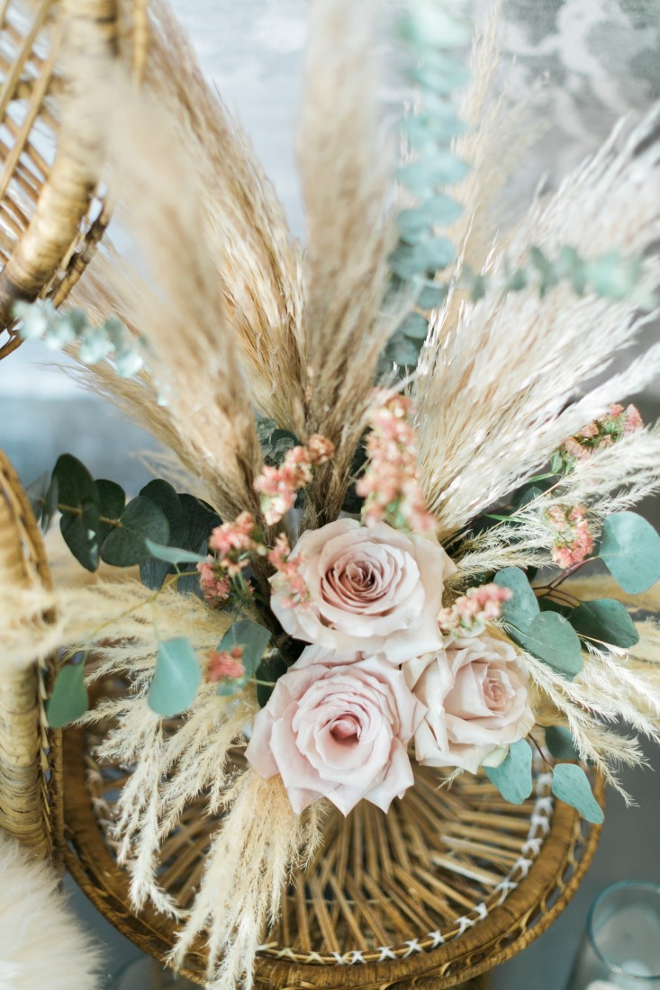 Macramé Boho Simply Sweet Photography bridal bouquet with pampas grass on rattan