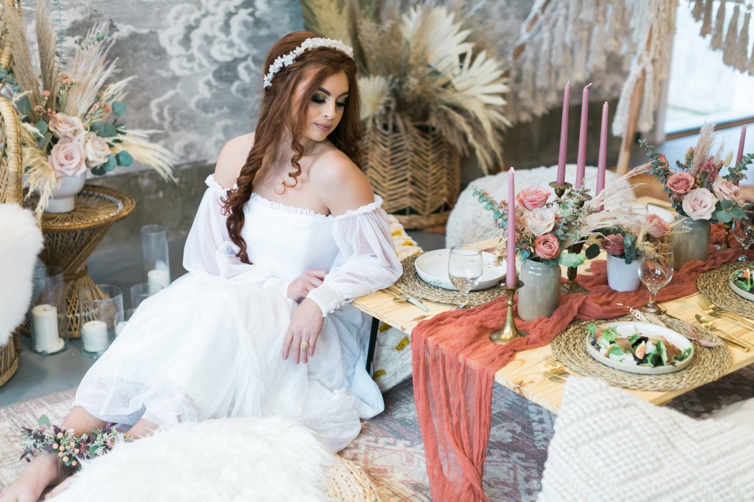 Macramé Boho Simply Sweet Photography bride lounges at table