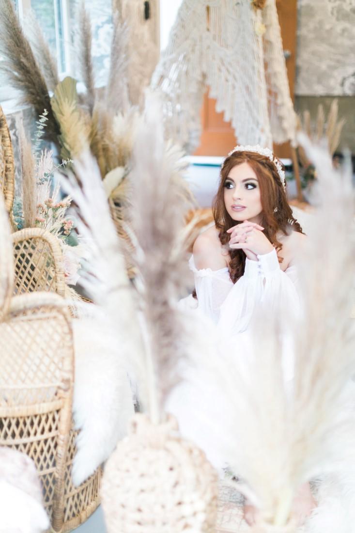 Macramé Boho Simply Sweet Photography bride sits amongst pampas grass
