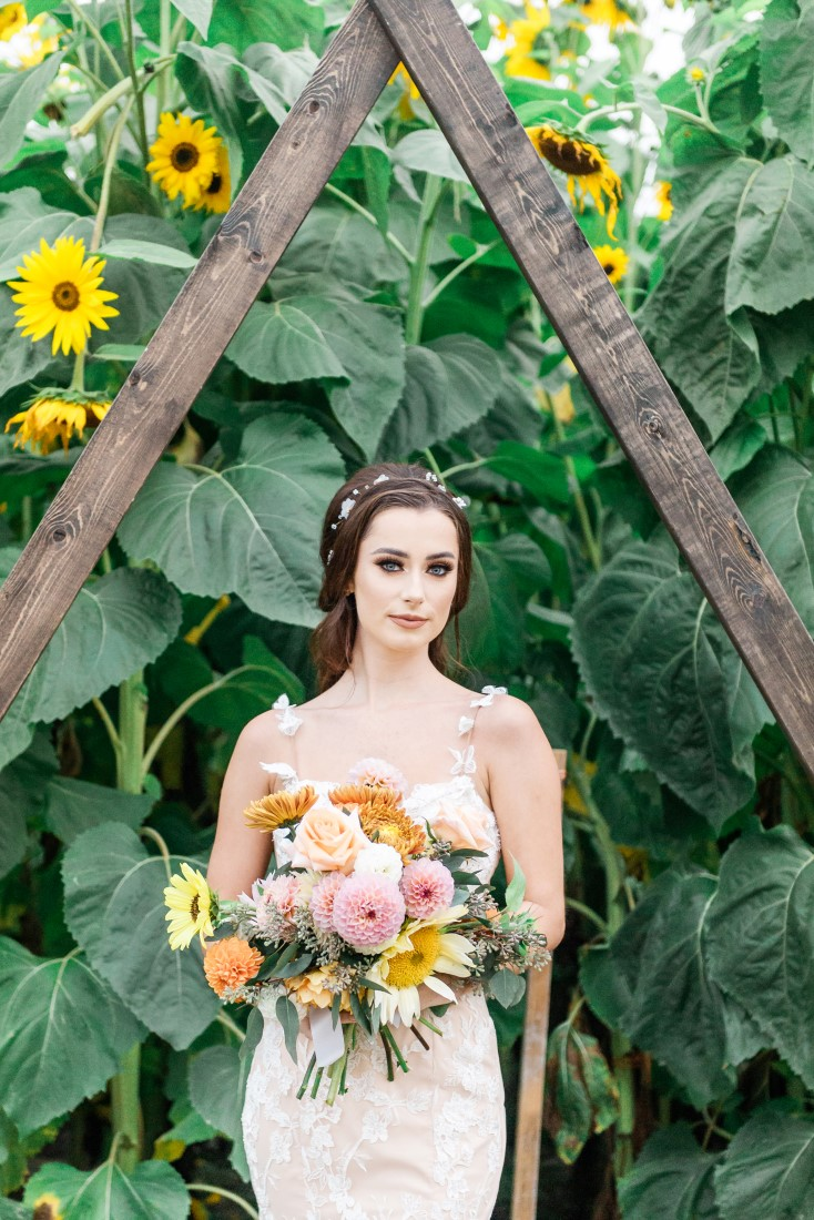 Sunflowers and Sunshine Wedding Inspo bride and bouquet