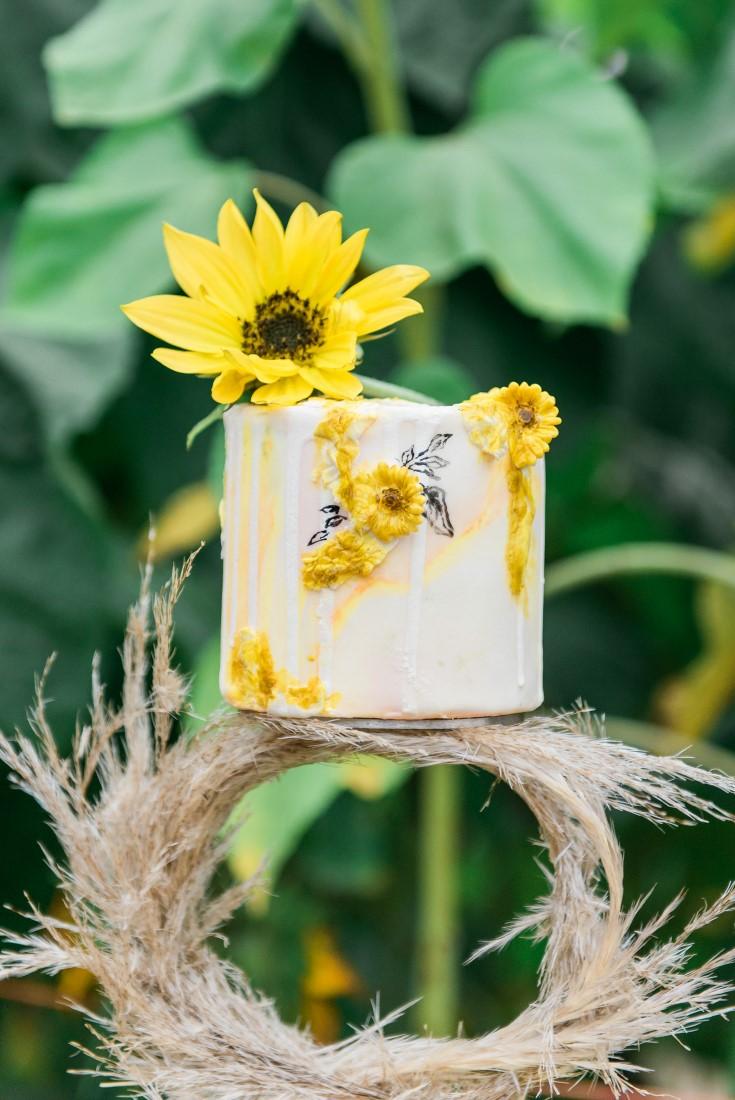 Sunflowers and Sunshine Wedding Inspo cake topper detail